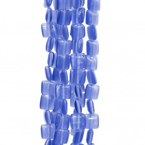 Scatola Regalo Fiaba Carta Rilievo Perlato Fiocco Blu 9x9x2,9cm 12pz