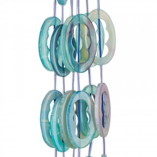 Cabochon Di Resina Druzi Ovale 18x25mm 20pz - Azzurro