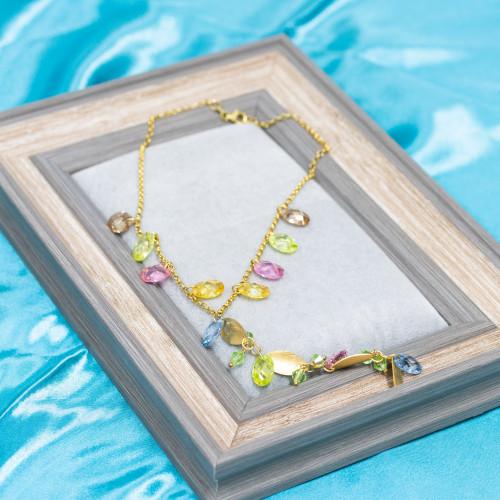 Pendente Di Argento 925 Con Strass E Perle Di Fiume Fiore 18x28mm 1pz Rodiato