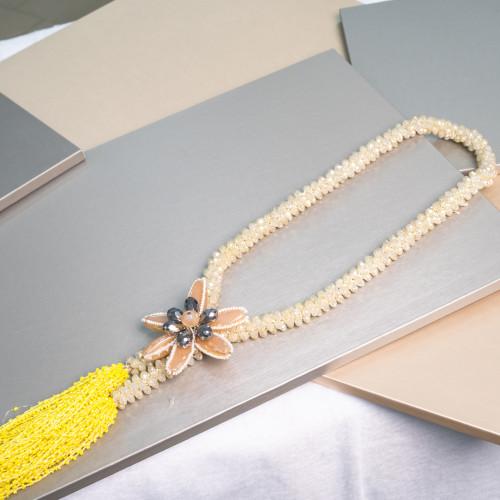 Pendente Di Ottone Con Cristalli E Perline 55mm 1pz Ramato