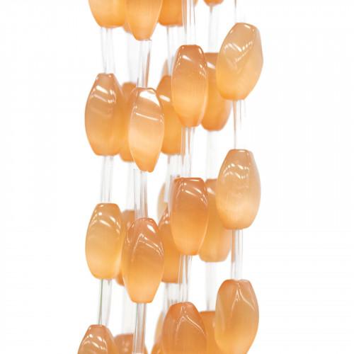 Scatola Regalo Fiaba Carta Rilievo Perlato Fiocco Arancio 4,2x21x2,4cm 12pz
