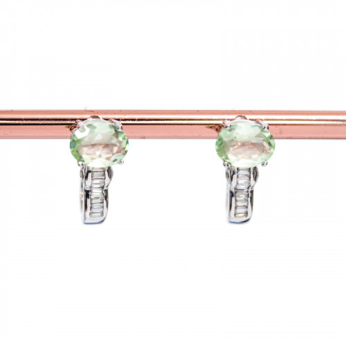 Chiusura Di Argento 925 Con Zirconi Foglia A Scatto 12x24mm 2pz Oro Rosa