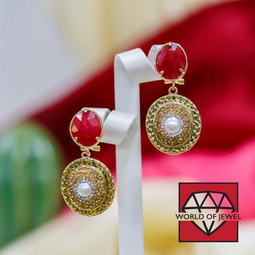 Chiusura Di Argento 925 Con Zirconi Tondo Forato A 3 Fili 25x12mm 3pz Oro Rosa