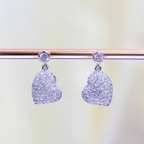 Pendente Di Argento 925 Con Zirconi E Perle Di Maiorca Fiore Margherita 17x27mm 2pz Rodiato