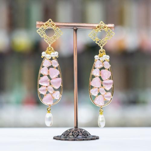 Pendente Di Argento 925 Con Perle Di Fiume 1pz Rodiato