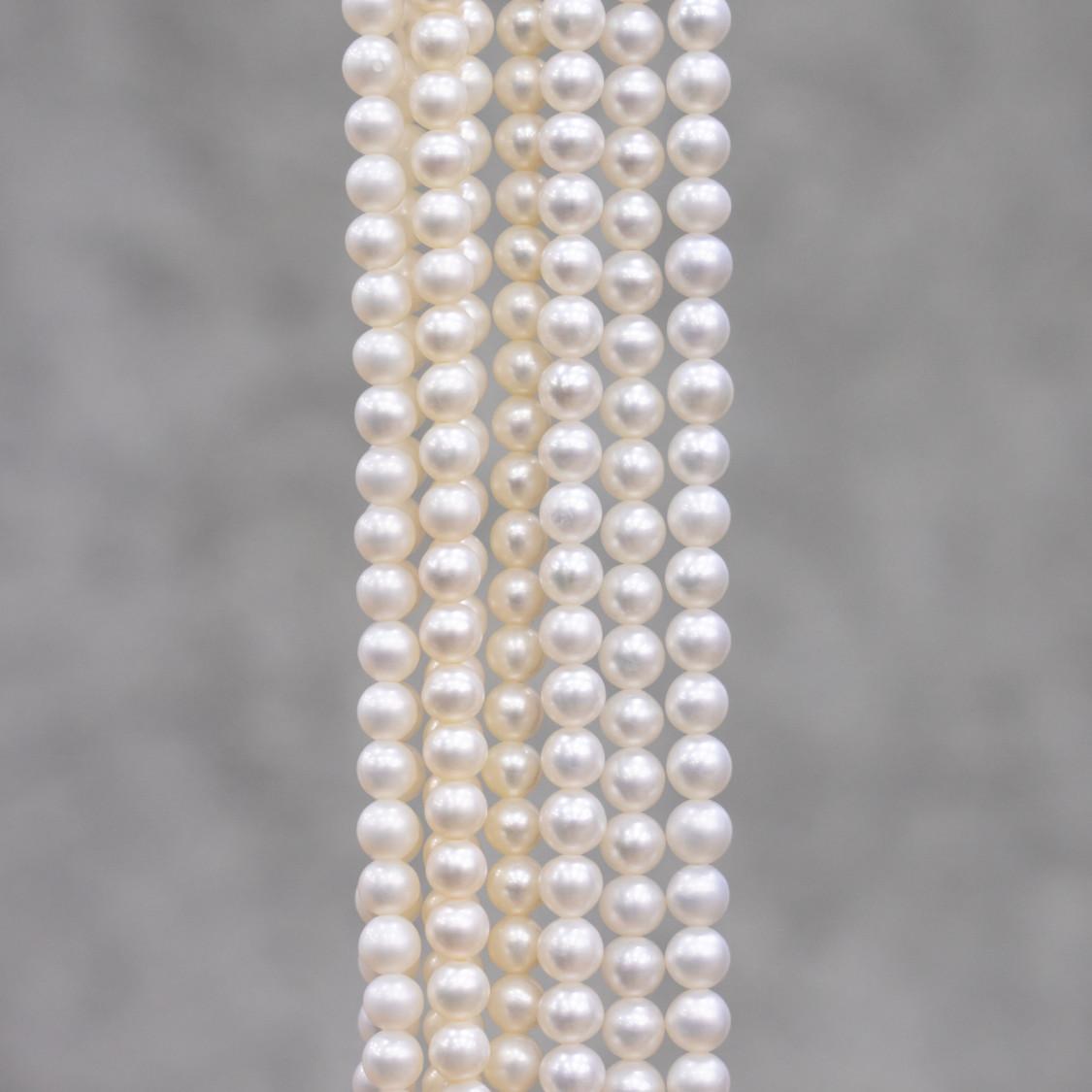 Perle Di Fiume Cipolline 6,0-6,5mm A Bianco 100 FILI