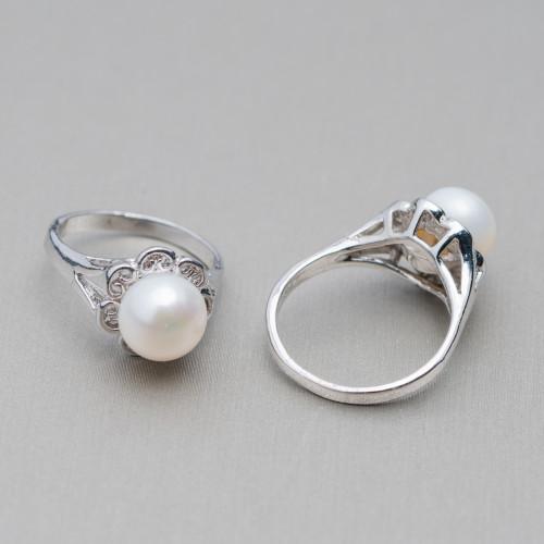 Perle di Fiume 1 Foro Tonde (AAAA) 9,0-9,5mm 12 Paia Grigio