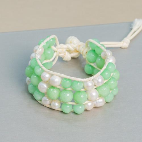 Agata Verde Smeraldo Striata Tondo Liscio 16mm