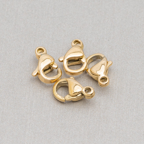 Componente Di Argento 925 Con Zirconi Occhio Con 2 Anellini 10x20mm 4pz Oro Rosa
