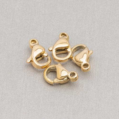 Componente Di Argento 925 Con Zirconi Stella A 8 Punte Con 2 Anellini 20mm 4pz Dorato