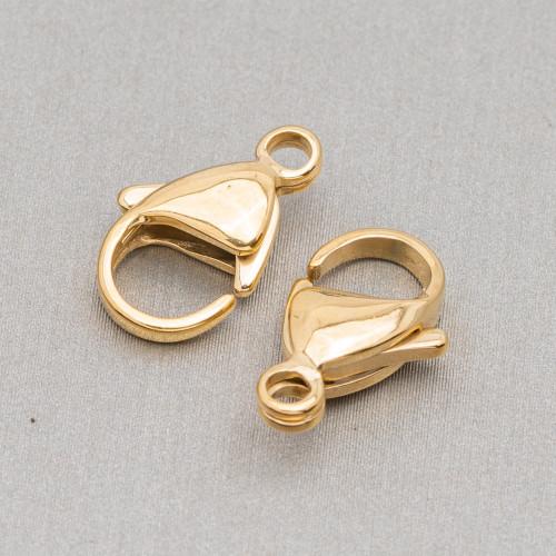 Componente Di Argento 925 Con Zirconi Stella Di Davide Con 2 Anellini 15,5x18mm 4pz Dorato