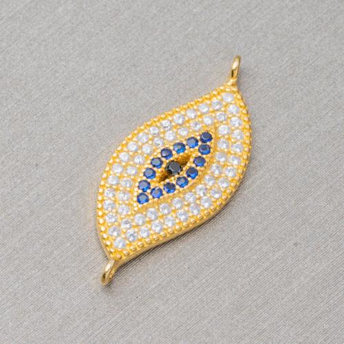 Perline a Filo Di Marcasite Strass Cubo Con Pietre 18mm 10pz Dorato Giallo