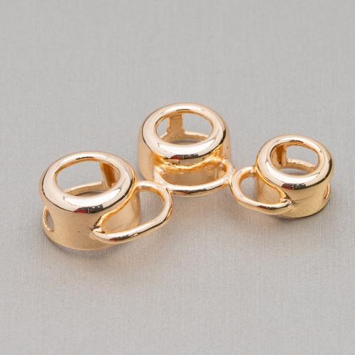 Distanziatore Di Argento 925 Con Zirconi Palline 10mm 4pz Oro Rosa Con Cristalli Bianchi