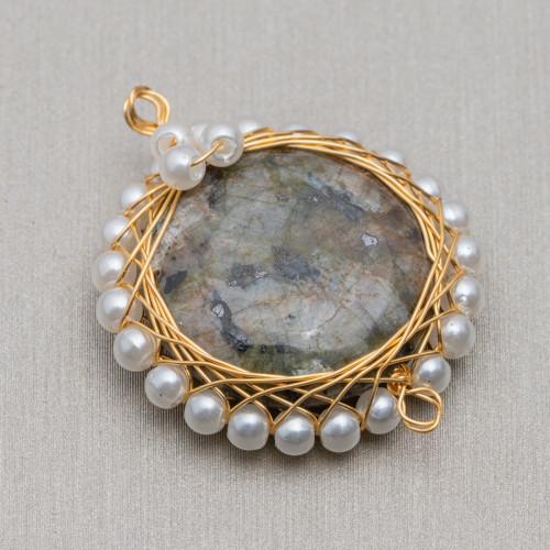 Perline a Filo Di Marcasite Strass Con Perle Di Fiume Barocche Piatte 20-25mm 8pz Nero