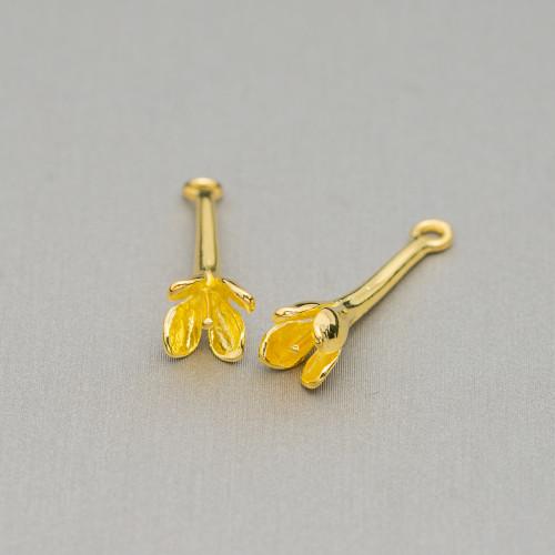Perline a Filo Di Marcasite Strass Cubo Con Pietre 16mm 10pz Dorato Giallo