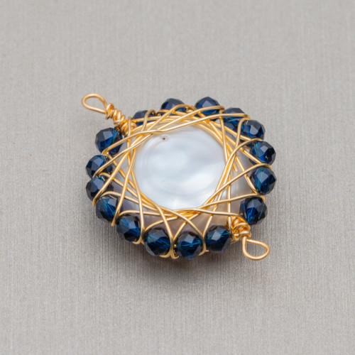 Perline a Filo Di Marcasite Strass Con Giada Rubellite Ovale Piatto Sfaccettato 22x28mm 8pz