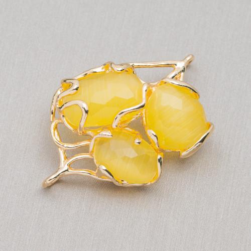 Perline a Filo Di Marcasite Strass Con Perle Di Fiume Barocche Piatte 20-25mm 8pz Dorato
