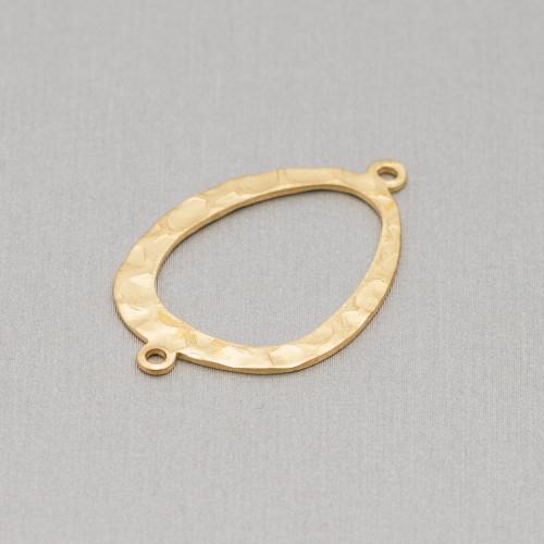 Connettore Componente Di Ottone Con Occhio Di Gatto Incastonati e Zirconi Goccia 14x18mm 10pz