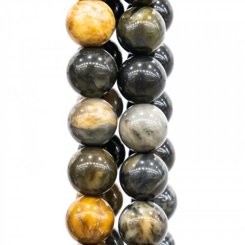 Orecchini Di Argento 925 Con Cabochon Di Cristalli E Gocce Di Labradorite - Nero