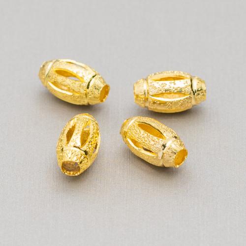 Orecchini A Perno Di Argento 925 E Ottone Con Fiore Di Resina E Cabochon Cristalli