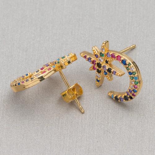 Orecchini A Perno Di Ottone Con Giada Burma E Perle Di Fiume Blu e Viola