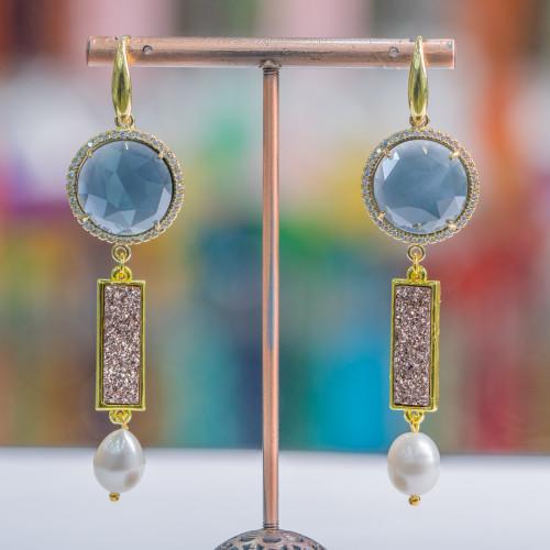 Orecchini A Perno Di Argento 925 Con Perle Di Fiume Keshi Dorato