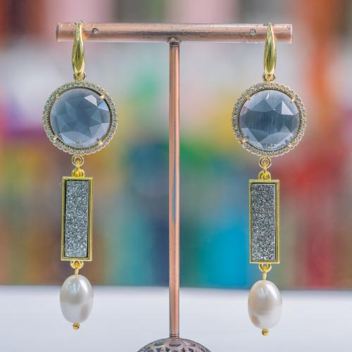 Orecchini A Perno Di Argento 925 Con Perle Di Fiume Keshi Rodiato