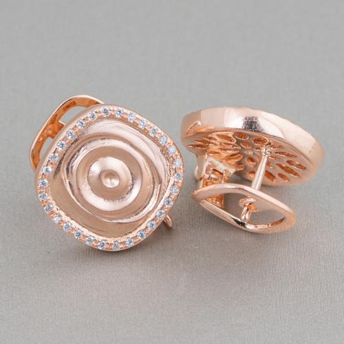 Orecchini A Monachella Di Bronzo Con Gocce Di Perle Di Maiorca Bordata Oro E Pietre Dure