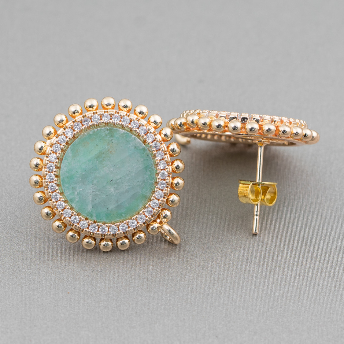 Collana Di Argento 925 Con Agata Blu Sfaccettata E Nodini Con Chiusura Di Argento Anello A Molla E Ottini 45cm