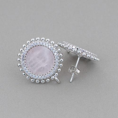 Orecchini Di Argento 925 Monachella Liscia Con Coppetta Cuori E Perle Di Maiorca Sfera Bianco 14mm