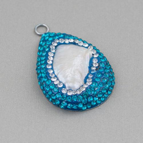 Orecchini A Monachella Di Argento 925 Con Elementi Di Bronzo Traforato E Perle Di Fiume Rodiato 1