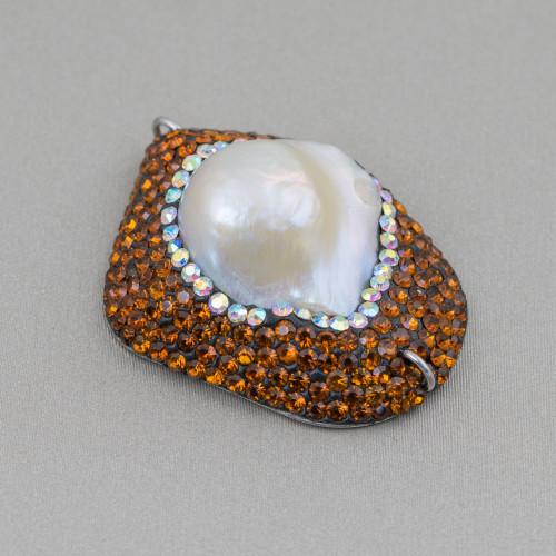 Orecchini A Monachella Di Argento 925 Con Elementi Di Bronzo Traforato E Perle Di Fiume Rodiato 2