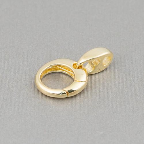 Chiusura Di Argento 925 Anello A Molla 16mm Con Ottino 4pz Oro Rosa