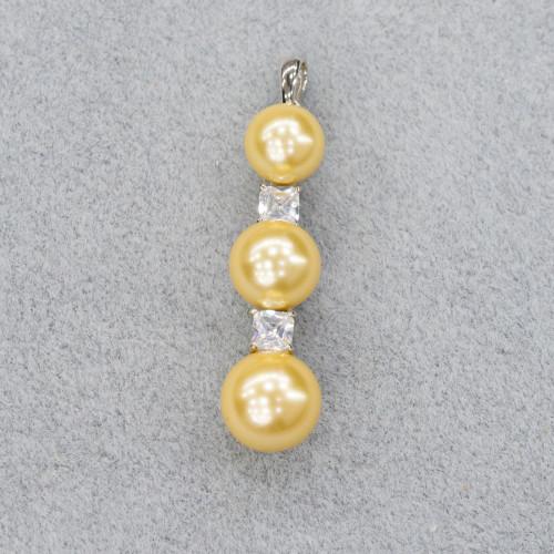 Pietra Lavica Placcato Oro Rosa 12mm