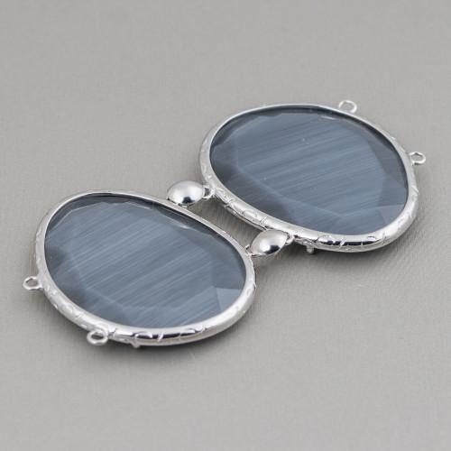 Orecchini A Perno Di Bronzo Con Giada Burma E Pietre Dure Blu