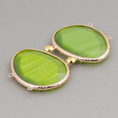 Orecchini A Perno Di Bronzo Con Giada Burma E Pietre Dure Verde