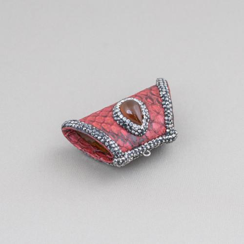 Componente Di Ottone a Creola Con Cabochon Di Occhi Di Gatto Incastonati 28mm 4pz Oro Rosa Bianco