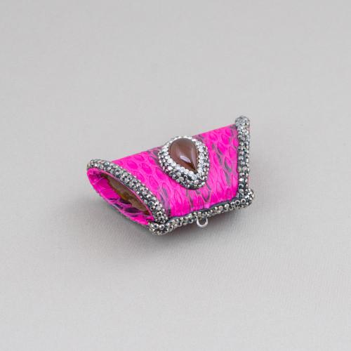 Componente Di Ottone a Creola Con Cabochon Di Occhi Di Gatto Incastonati 28mm 4pz Oro Rosa Blu Zaffiro