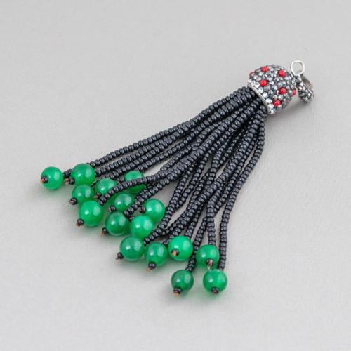 Connettore Componente Di Ottone A Mango Con Occhio Di Gatto Incastonato E Zirconi 23x35mm 4pz Rodiato Verde Smeraldo
