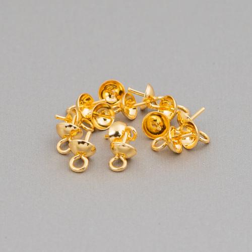 Marcasite Strass Perle Di Maiorca Tondo Piatto 35mm 6pz Dorato