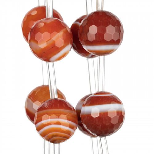 Bracciale Elastico di Corallo Bamboo Arancio E Onice