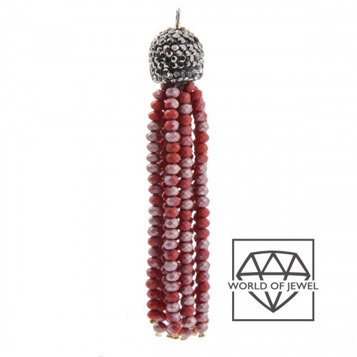 Orecchini Di Bronzo A Perno Con Marcasite Strass, Perle Di Fiume E Pietre Dure 28x62mm