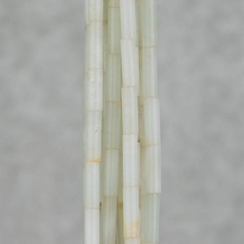 Orecchini A Monachella Di Argento 925 E Bronzo Con Gocce Piatte Di Giade 18x68mm Rosa