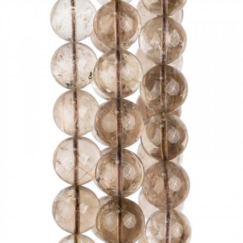 Cabochon Di Cristalli Sfaccettati E Ottone 2 Anellini Ovale 11x38mm10pz Fume' e Dorato