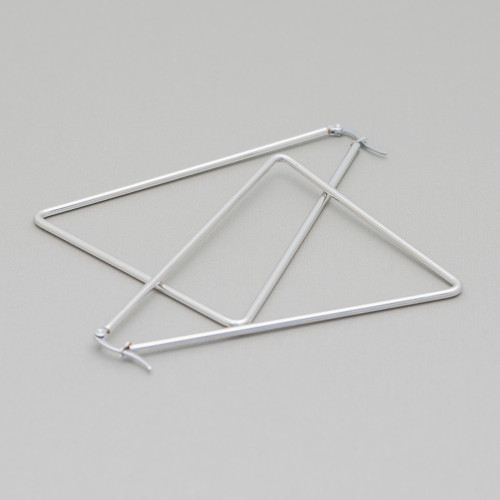 Base Per Orecchini Di Argento 925 Ami A Goccia 3,5x16,5mm Rodiato 10 Paia