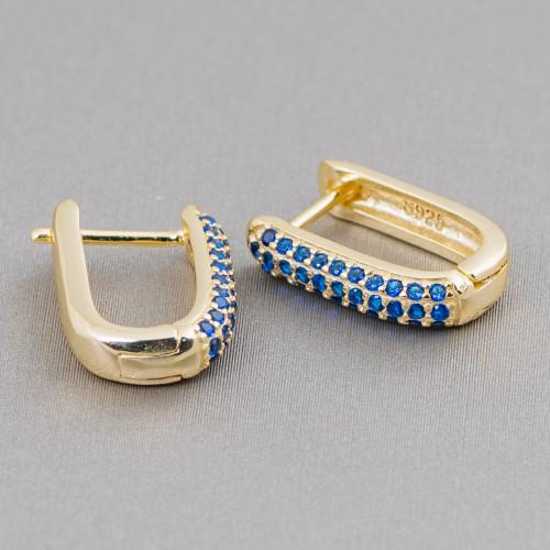 Base Per Orecchini Di Argento 925 Con Zirconi Monachella Cerchietto Per Perle 16,5mm 4 Paia Rodiato