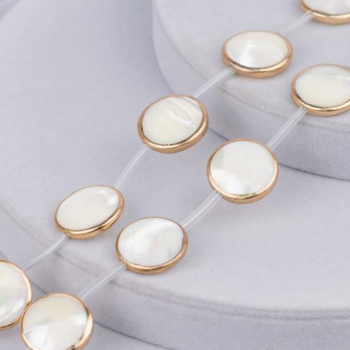 Collana Di Perle Di Maiorca Tondo Piatto 20mm Con Chiusura In Ottone Multicolor Mod.1 44-49cm