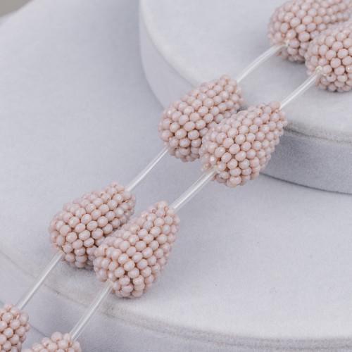 Collana Di Perle Di Fiume E Ottone Inossidabile Rondelle 10-11mm Rodiato-Rosa