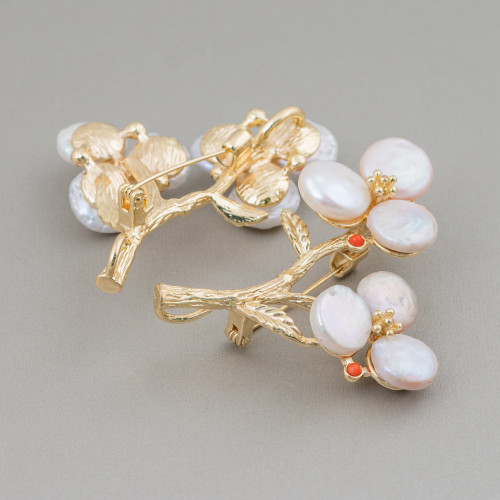 Orecchini Di Bronzo A Perno Con Perle Di Fiume Barocche Piatte 19-24x42-50mm Perno A Fiori