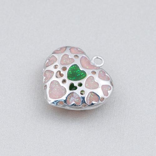 Chiusura Di Argento 925 Con Zirconi Testa Pantera Doppio Con Anello Centrale 13x39mm 1pz Oro Rosa